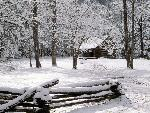 hiver Carter Shields Cabin in Winter Great Smoky Mountains National Park Tennessee jpg