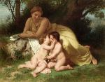 wilbogu Young Woman Contemplating Two Embracing Children jpg